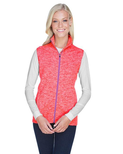 J America Ladies' Lasic Cosmic Fleece Vest - Fre Crl/ Magenta