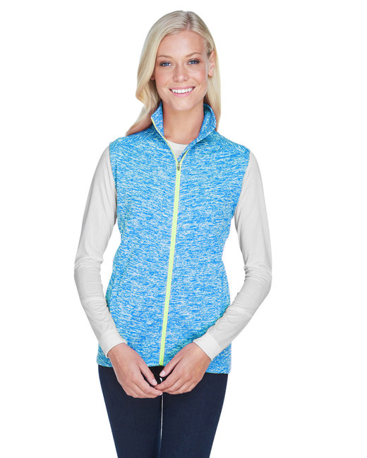 J America Ladies' Lasic Cosmic Fleece Vest - El Blue/ Neon Gr