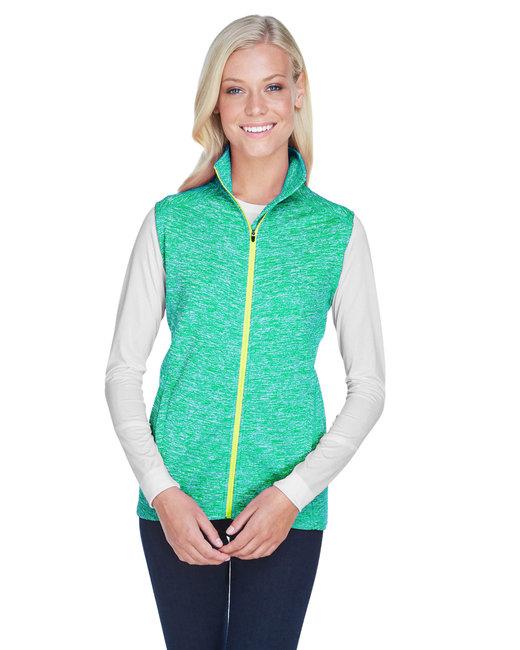 J America Ladies' Lasic Cosmic Fleece Vest - Emerld/ Neon Ylw