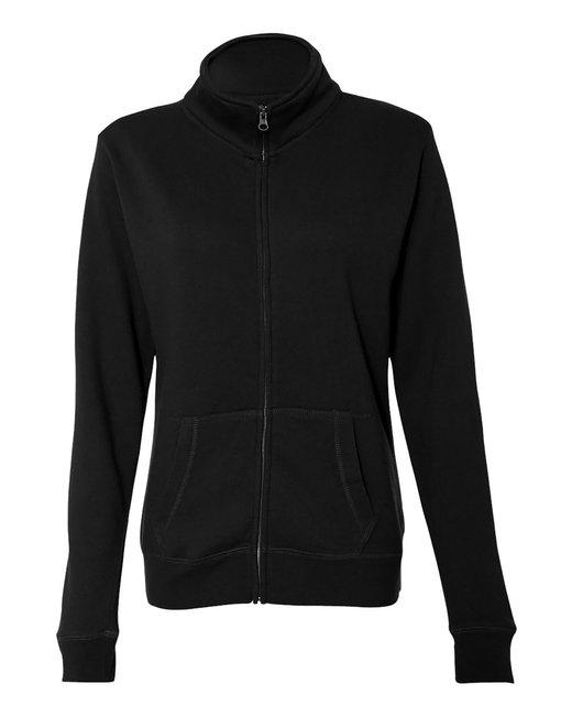 J America Ladies Sueded Fleece Full Zip Jacket - Black