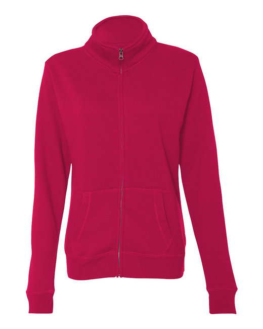 J America Ladies Sueded Fleece Full Zip Jacket - Wildberry