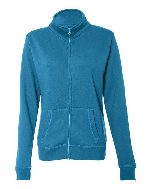 J America Ladies Sueded Fleece Full Zip Jacket - Oceanberry