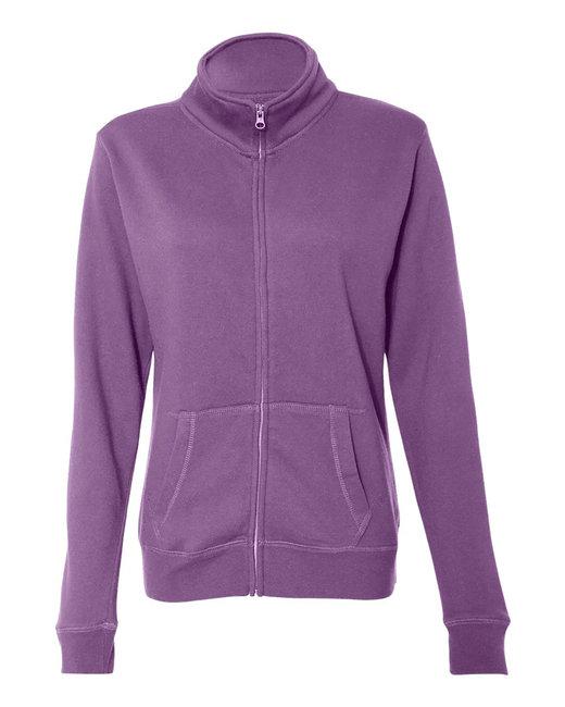 J America Ladies Sueded Fleece Full Zip Jacket - Very Berry