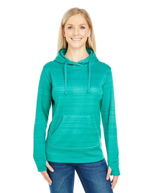 J America Ladies' Odyssey Striped Poly Fleece Lapover Hood - Dynasty Grn Strp