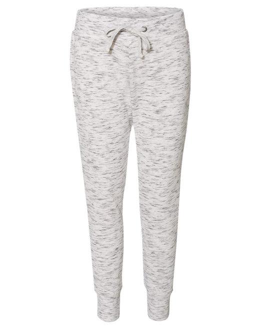 J America Ladies' Melange Fleece Jogger Pant - White