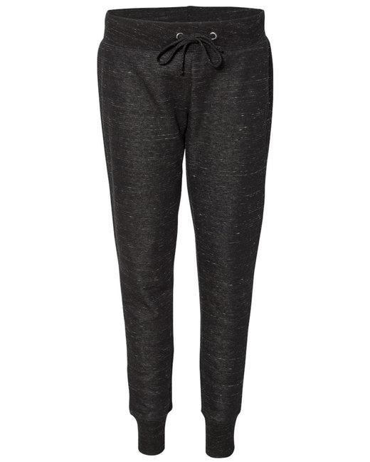 J America Ladies' Melange Fleece Jogger Pant - Black