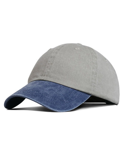 Liberty Bags Washed Cotton Pigment-Dyed Cap - Khaki/ Blue