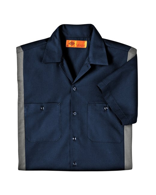 Dickies Men's 4.25 oz. Industrial Colorblock Shirt - Dark Navy/ Smoke