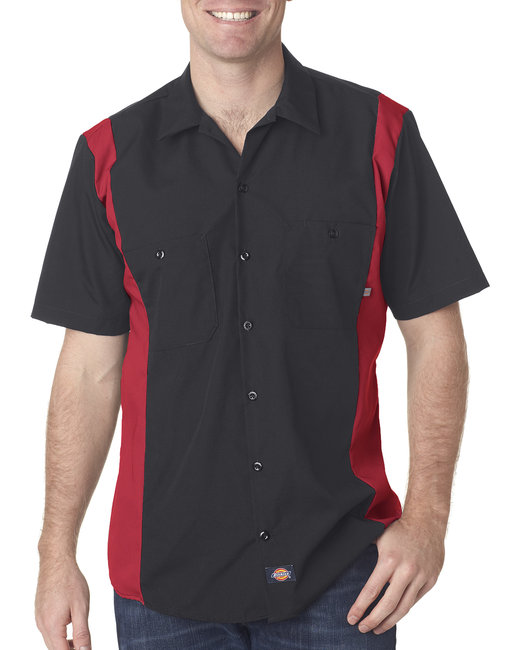 Dickies Men's 4.25 oz. Industrial Colorblock Shirt - Black/ Eng Red