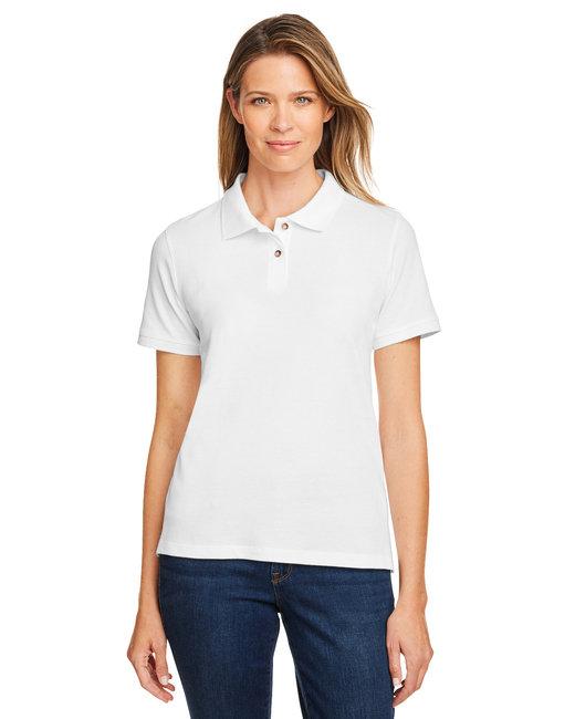 Harriton Ladies' 6 oz. Ringspun Cotton Piqué Short-Sleeve Polo - White