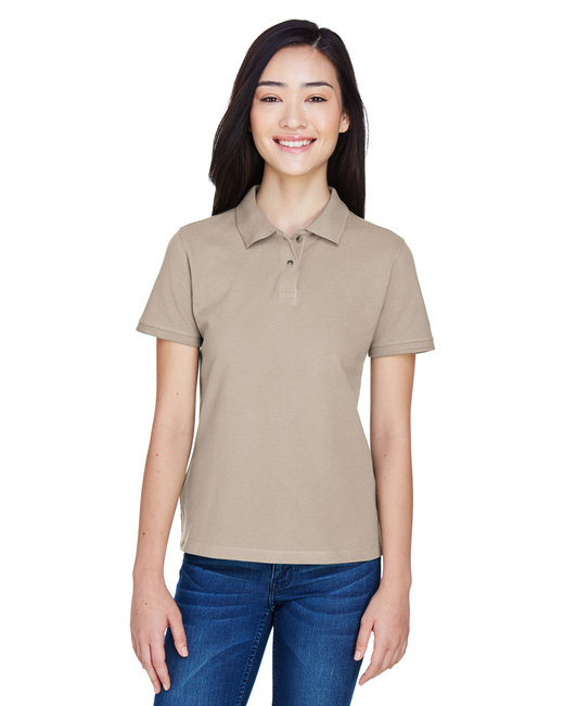 Harriton Ladies' 6 oz. Ringspun Cotton Piqué Short-Sleeve Polo - Stone