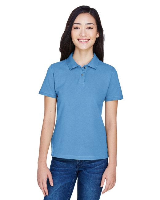 Harriton Ladies' 6 oz. Ringspun Cotton Piqué Short-Sleeve Polo - Lt College Blue