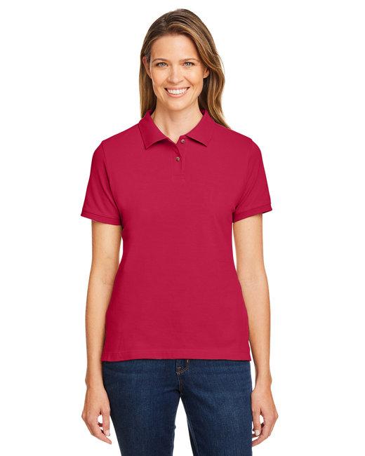 Harriton Ladies' 6 oz. Ringspun Cotton Piqué Short-Sleeve Polo - Red