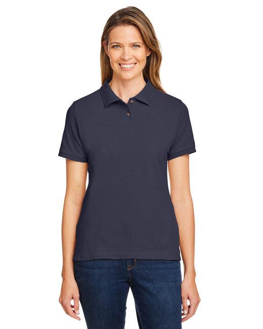Harriton Ladies' 6 oz. Ringspun Cotton Piqué Short-Sleeve Polo - Navy