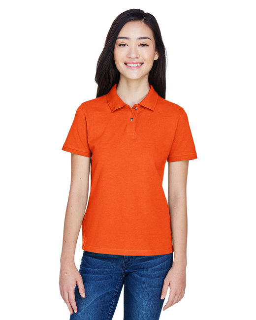 Harriton Ladies' 6 oz. Ringspun Cotton Piqué Short-Sleeve Polo - Team Orange