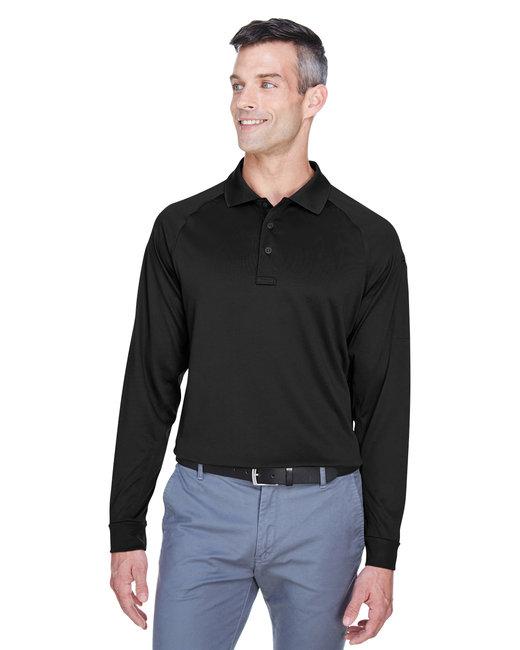 Harriton Men's Advantage Snag Protection Plus Long-Sleeve Tactical Polo - Black