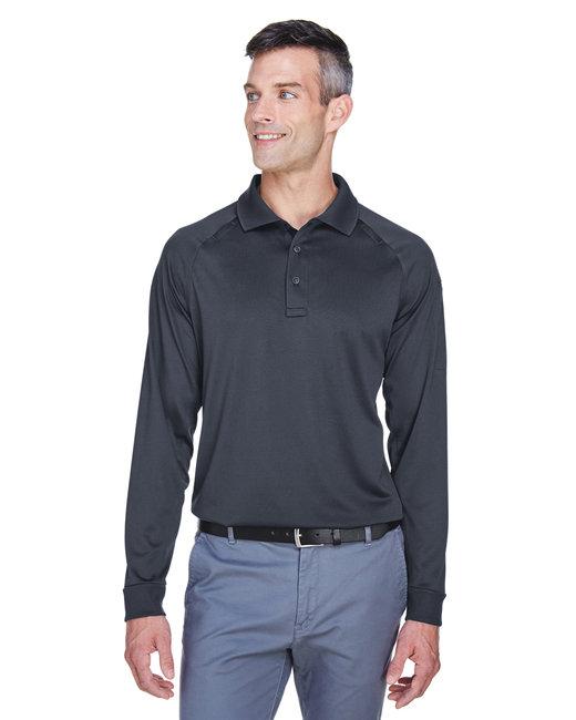 Harriton Men's Advantage Snag Protection Plus Long-Sleeve Tactical Polo - Dark Charcoal