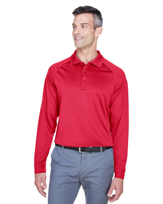 Harriton Men's Advantage Snag Protection Plus Long-Sleeve Tactical Polo - Red