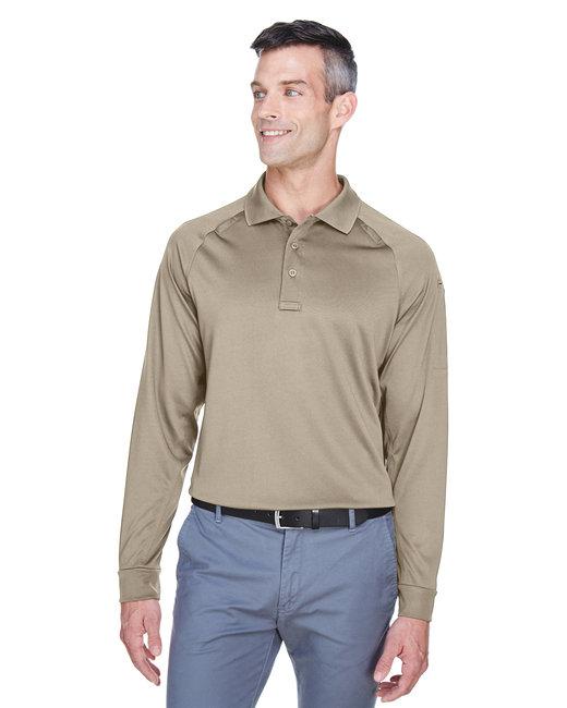 Harriton Men's Advantage Snag Protection Plus Long-Sleeve Tactical Polo - Desert Khaki