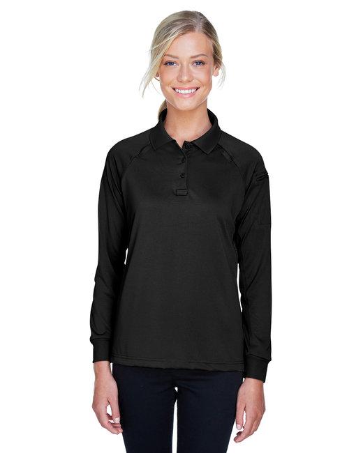 Harriton Ladies' Advantage Snag Protection Plus Long-Sleeve Tactical Polo - Black