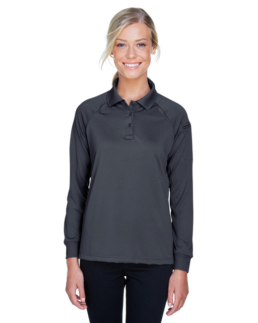Harriton Ladies' Advantage Snag Protection Plus Long-Sleeve Tactical Polo - Dark Charcoal