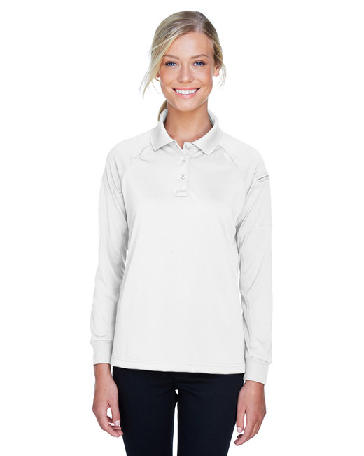 Harriton Ladies' Advantage Snag Protection Plus Long-Sleeve Tactical Polo - White