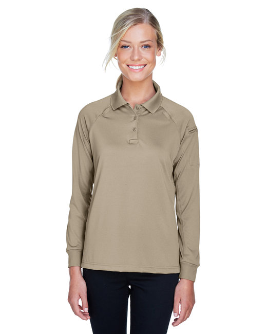 Harriton Ladies' Advantage Snag Protection Plus Long-Sleeve Tactical Polo - Desert Khaki