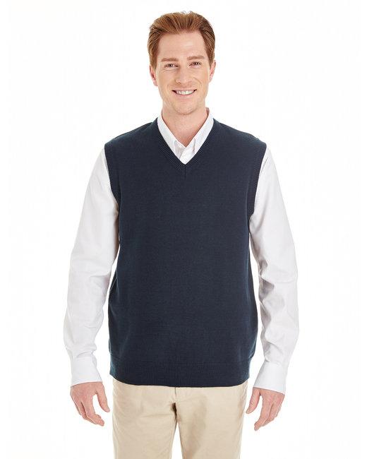 Harriton Men's Pilbloc™ V-Neck Sweater Vest - Dark Navy