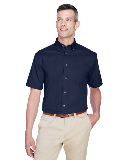 Harriton Men's Easy Blend™ Short-Sleeve Twill Shirt withStain-Release - Navy
