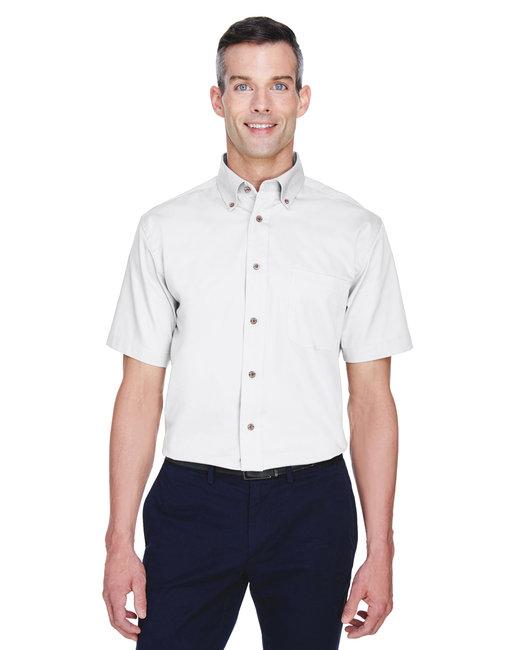 Harriton Men's Easy Blend™ Short-Sleeve Twill Shirt withStain-Release - White