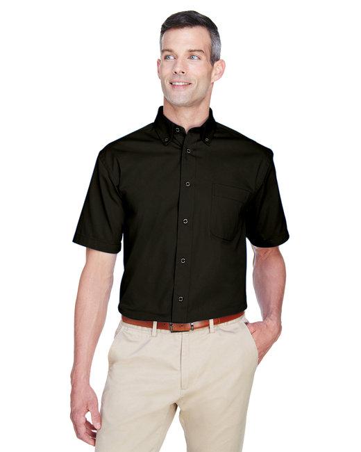 Harriton Men's Easy Blend™ Short-Sleeve Twill Shirt withStain-Release - Black