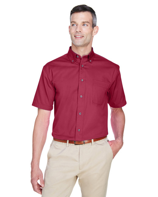Harriton Men's Easy Blend™ Short-Sleeve Twill Shirt withStain-Release - Wine