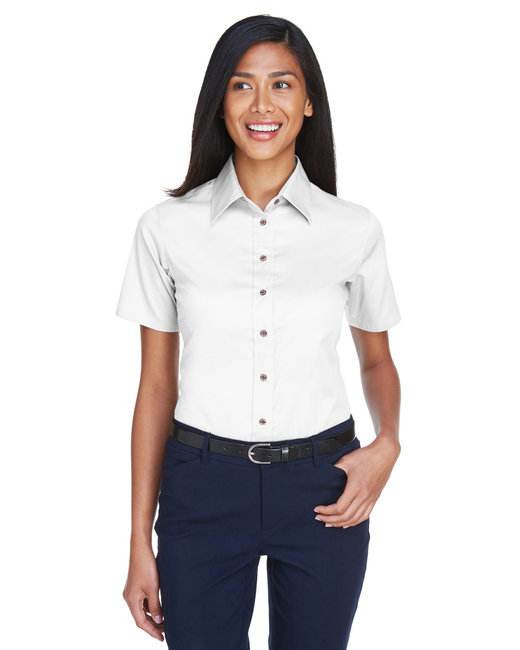 Harriton Ladies' Easy Blend™ Short-Sleeve Twill Shirt withStain-Release - White