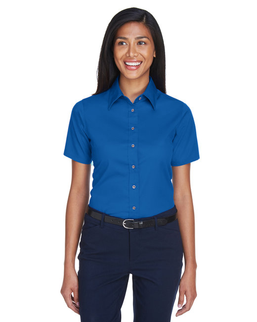 Harriton Ladies' Easy Blend™ Short-Sleeve Twill Shirt withStain-Release - French Blue