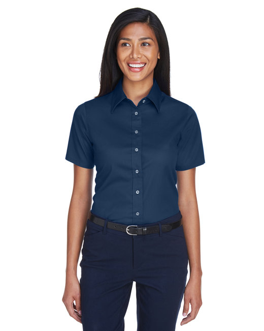 Harriton Ladies' Easy Blend™ Short-Sleeve Twill Shirt withStain-Release - Navy