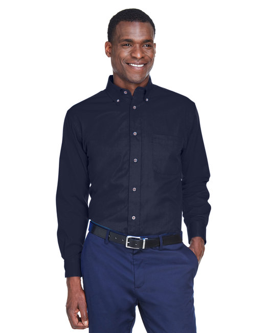 Harriton Men's Tall Easy Blend™ Long-Sleeve Twill Shirt with Stain-Release - Navy