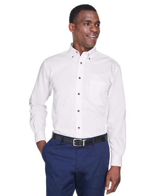 Harriton Men's Tall Easy Blend™ Long-Sleeve Twill Shirt with Stain-Release - White