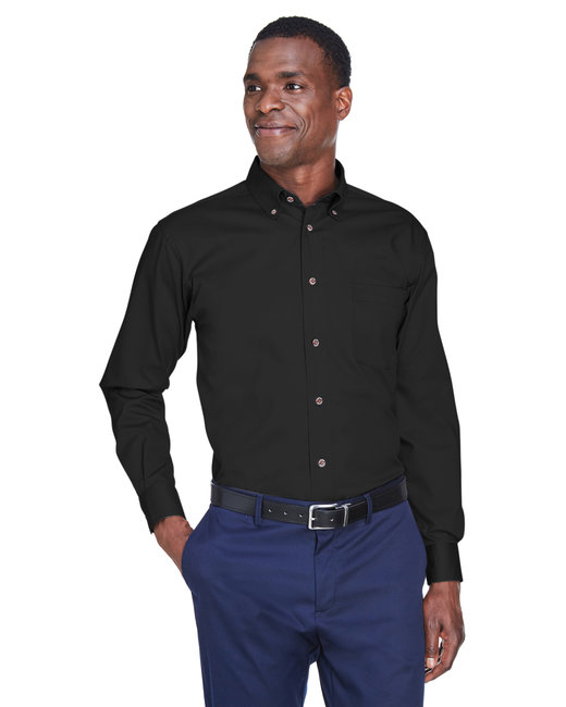 Harriton Men's Tall Easy Blend™ Long-Sleeve Twill Shirt with Stain-Release - Black