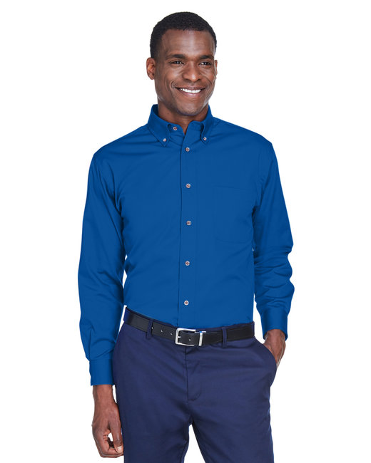 Harriton Men's Tall Easy Blend™ Long-Sleeve Twill Shirt with Stain-Release - French Blue