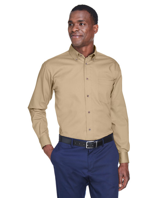 Harriton Men's Tall Easy Blend™ Long-Sleeve Twill Shirt with Stain-Release - Stone