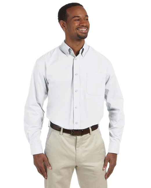 Harriton Men's 3.1 oz. Essential Poplin - White