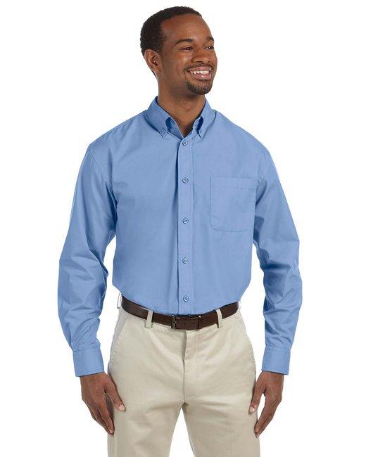 Harriton Men's 3.1 oz. Essential Poplin - Lt College Blue