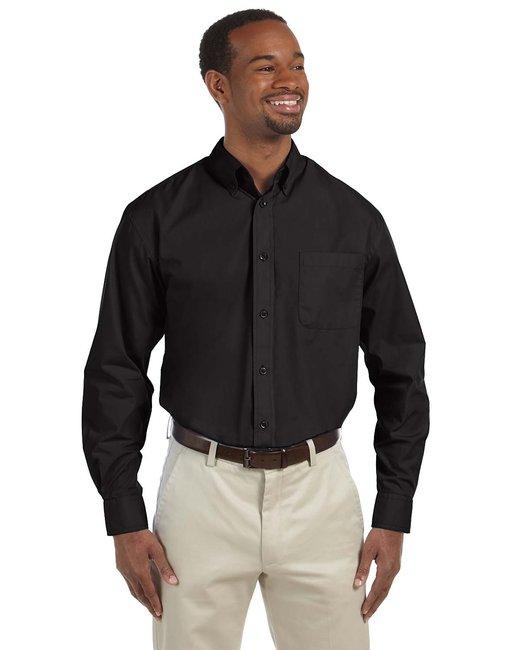 Harriton Men's 3.1 oz. Essential Poplin - Black