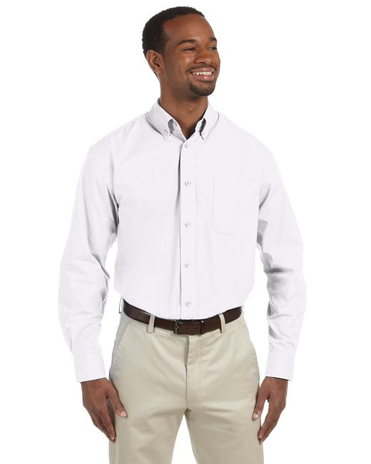 Harriton Men's Tall 3.1 oz. Essential Poplin - White