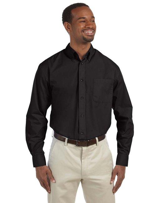 Harriton Men's Tall 3.1 oz. Essential Poplin - Black