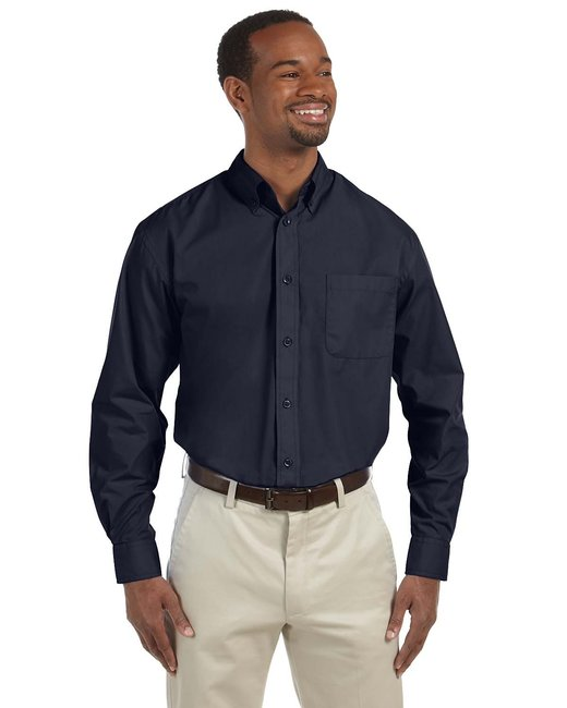 Harriton Men's Tall 3.1 oz. Essential Poplin - Navy