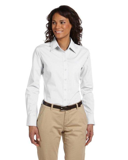Harriton Ladies' 3.1 oz. Essential Poplin - White