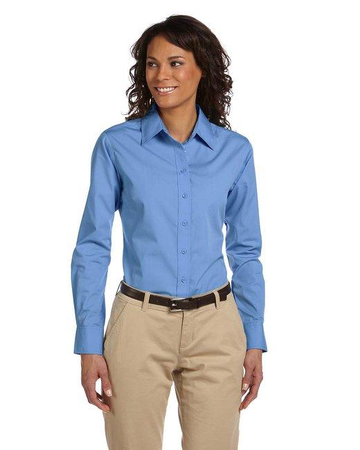 Harriton Ladies' 3.1 oz. Essential Poplin - Lt College Blue
