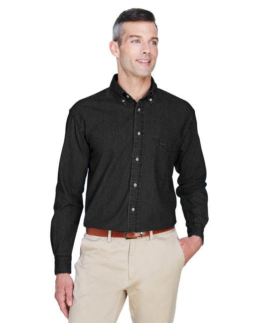 Harriton Men's 6.5 oz. Long-Sleeve Denim Shirt - Washed Black