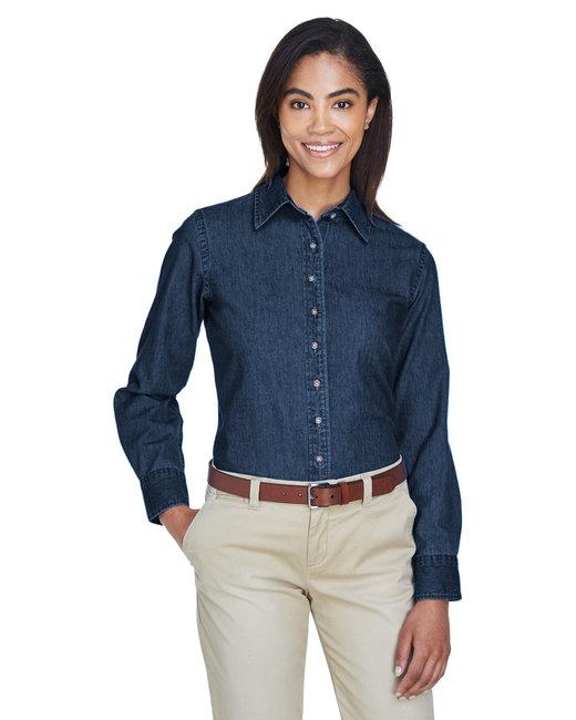 Harriton Ladies' 6.5 oz. Long-Sleeve Denim Shirt - Dark Denim